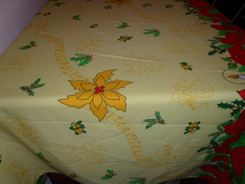 mantel navideño en tela panamá mide 2.00 x 1.50 !! art.nuevo