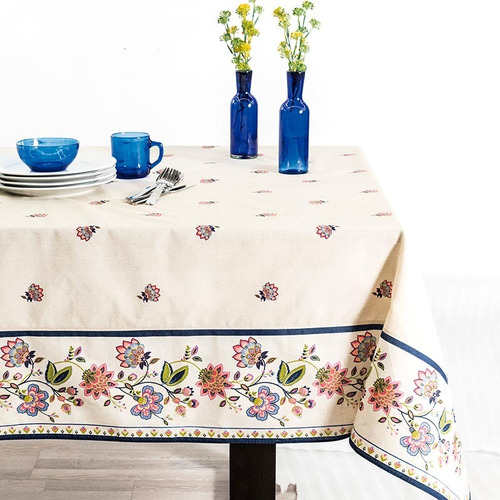 mantel para mesa rectangular puebla flores beige  vianney