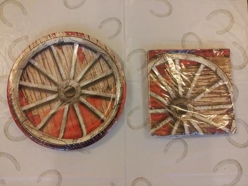 mantel plato servilleta para fiesta motivo vaquero de usa2,5