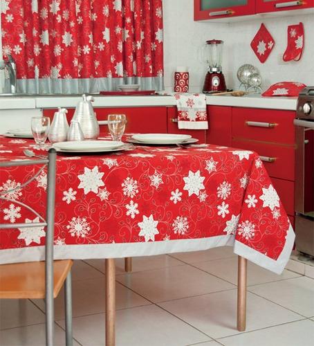 mantel rectangular copos navideño vianney envio gratis
