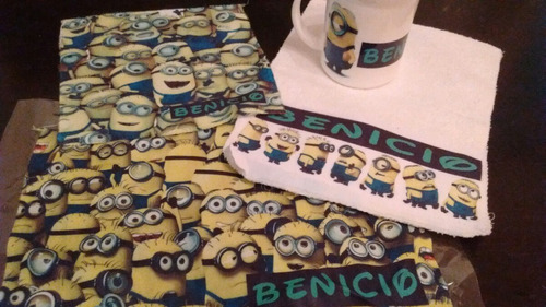 mantel, servilleta y toallita personalizada jardin infantes