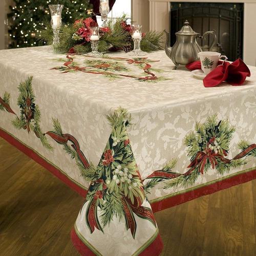 mantel tela mesa navideño navidad 152 x 213 cm rectangular