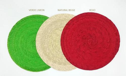 manteles individuales artesanal de palma redondo