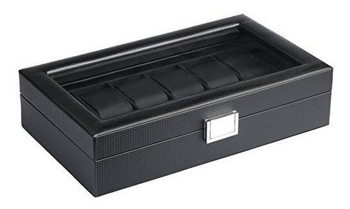 mantello negro fibra de carbono caja de reloj 12