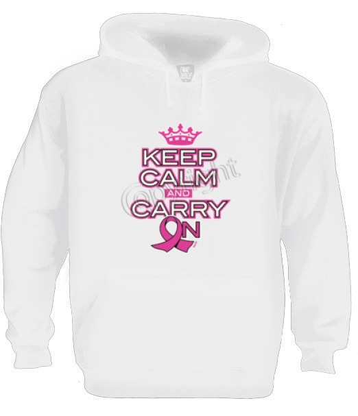 keep calm and carry on pink ribbon Hoodie breast cancer support hope faith
