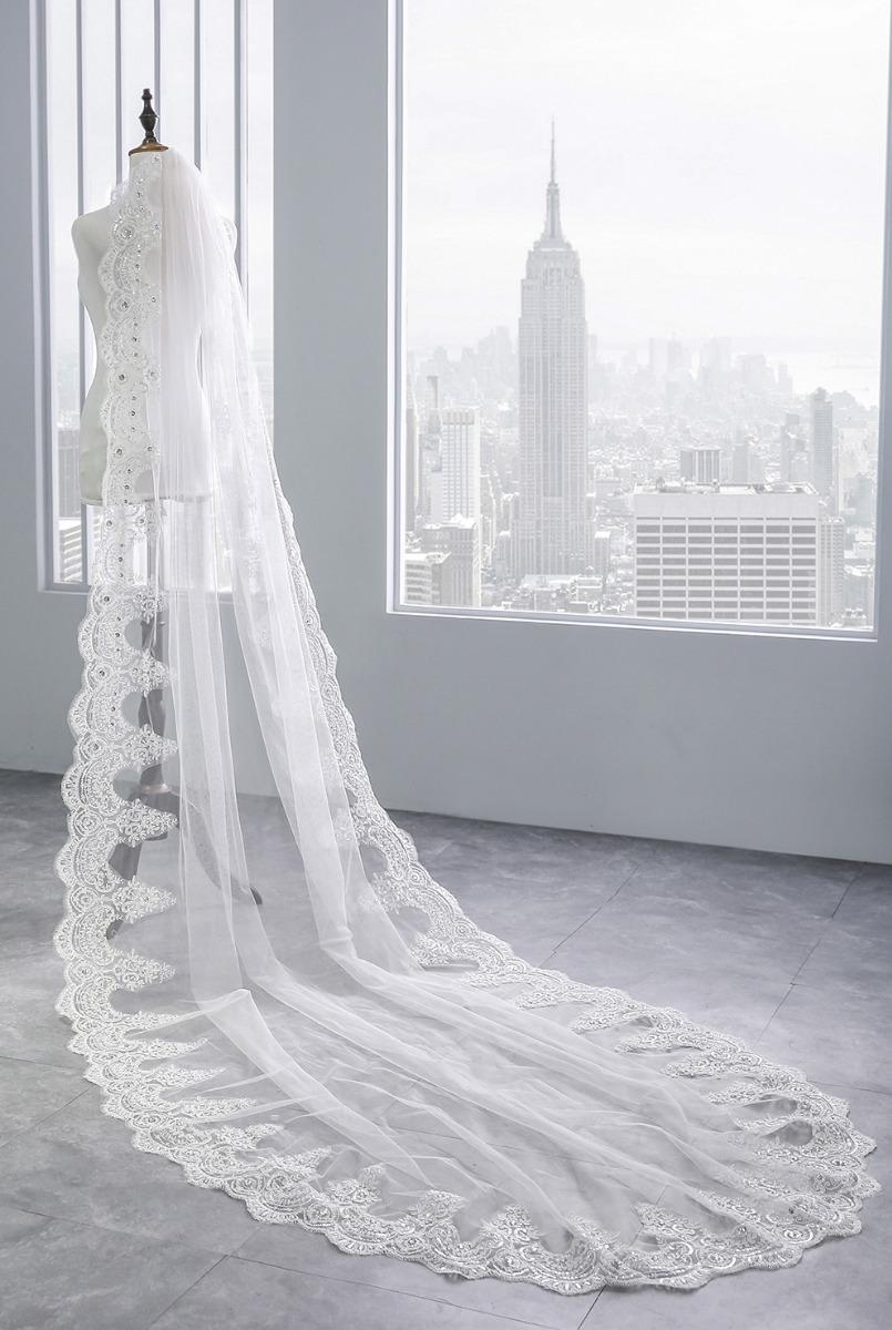 551f348d7 mantilha véu de noiva casamento longo 3 metros renda bordada. Carregando  zoom.
