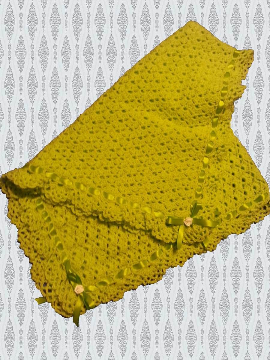 Mantilla/manta Para Bebé Tejida A Mano-crochet - $ 380,00 en Mercado ...