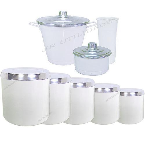 mantimento potes porta condimento + kit de pia branco 013 3