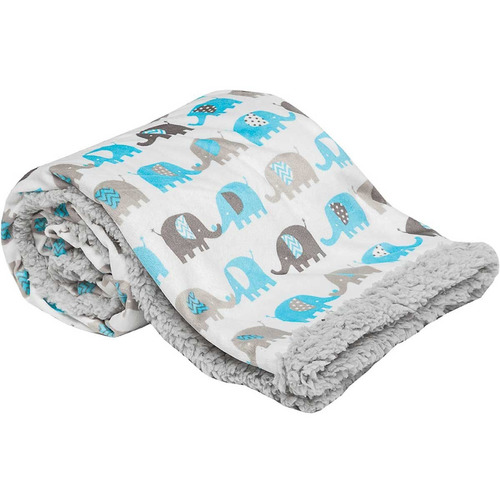 mantinha bebe cobertor menino soft apeluciada elefante azul