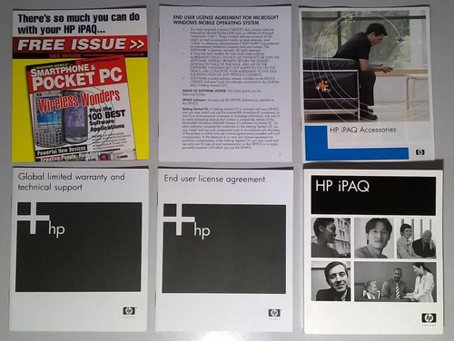 manuais, folhetos  cds de sincronizo e office para hp ipaq