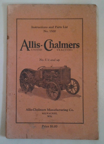 manual 100% original de uso/despiece: tractor allis chalmers