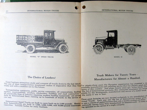 manual camion international 1924 original de epoca