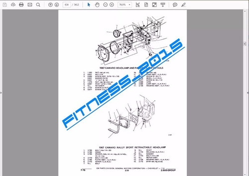 manual catalogo partes despiece chevrolet 1962-1975 camaro