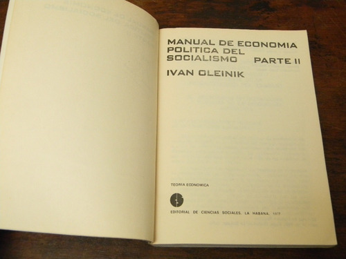manual de economía política del socialismo oleinik 3 tomos