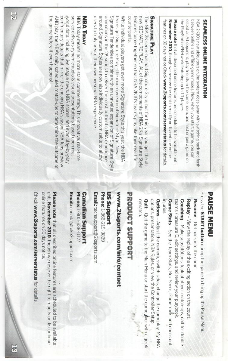 Manual De Instrucoes Jogo Nba 2k10 /play 3