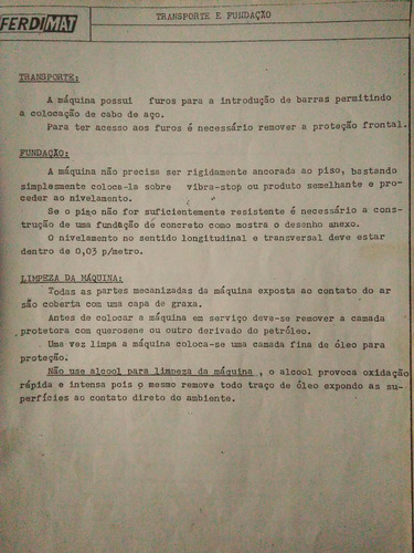 manual de instruções para retifica ferdimat u-61