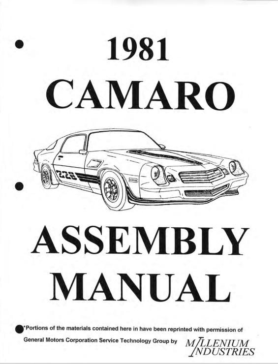 Manual De Montagem Da Fábrica Chevrolet Camaro F-body 1981