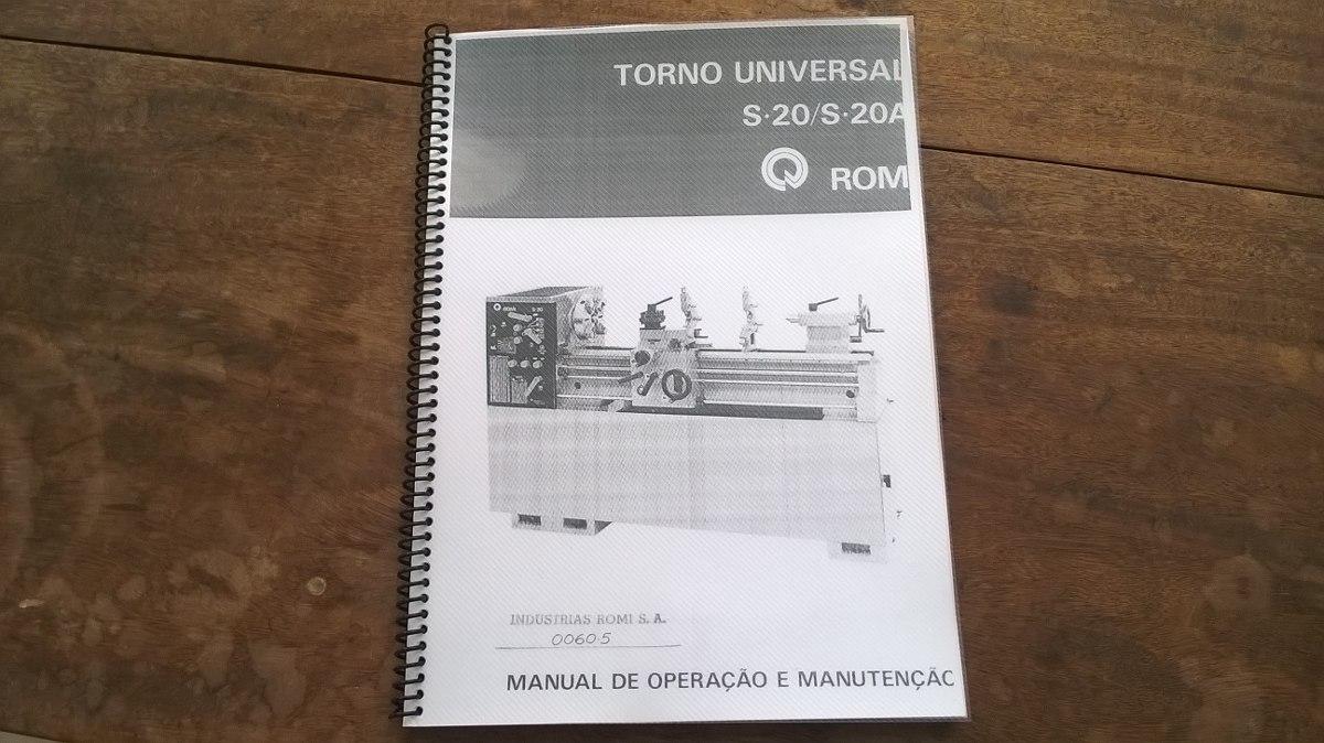 manual de opera o e manuten o do torno romi s20 s20a r 98 00 rh produto mercadolivre com br Tornos Deco Torno Revolver