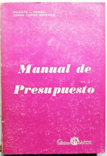 manual de presupuesto / perel - lópez giménez (1968)