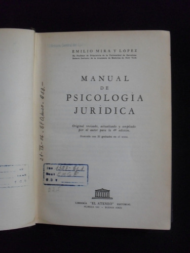 manual de psicologia juridica, emilio mira y lopez