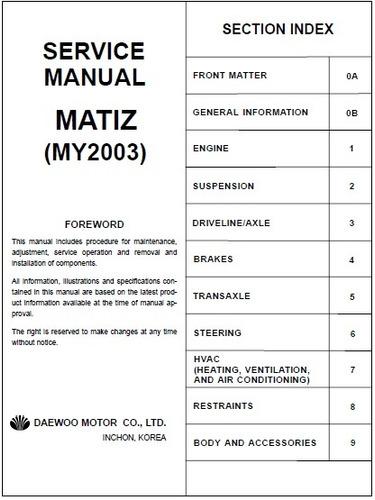 manual de servicio daewoo matiz completo