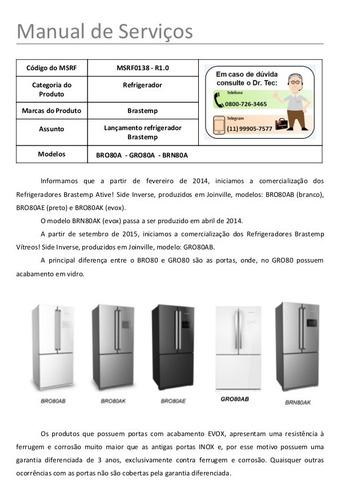 manual de serviço geladeira bro80a todos da série bro80