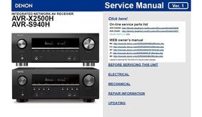 Manual De Serviço Receiver Denon Avr-x2500h Em Pdf