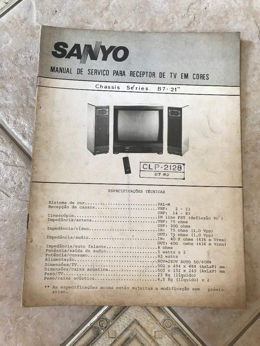 Manual De Serviço Sanyo Tv Em Cores Clp-2128 D7ro