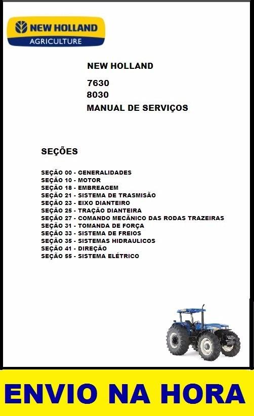 manual de servi o trator new holland serie 30 7630 8030 r 24 99 rh produto mercadolivre com br manual de tractor new holland 8030 new holland 8030 workshop manual