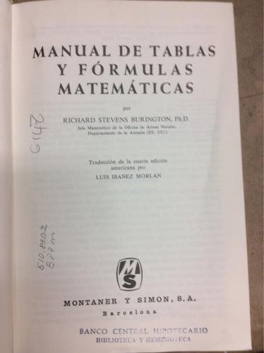manual de tablas y fórmulas matemáticas.