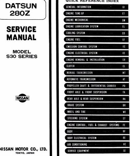 manual de taller datsun 280z (1975-1978) envio gratis