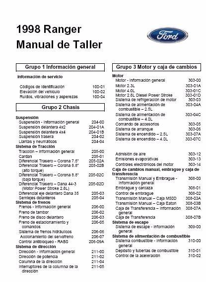 Manual De Taller Ford Ranger 1998-2001
