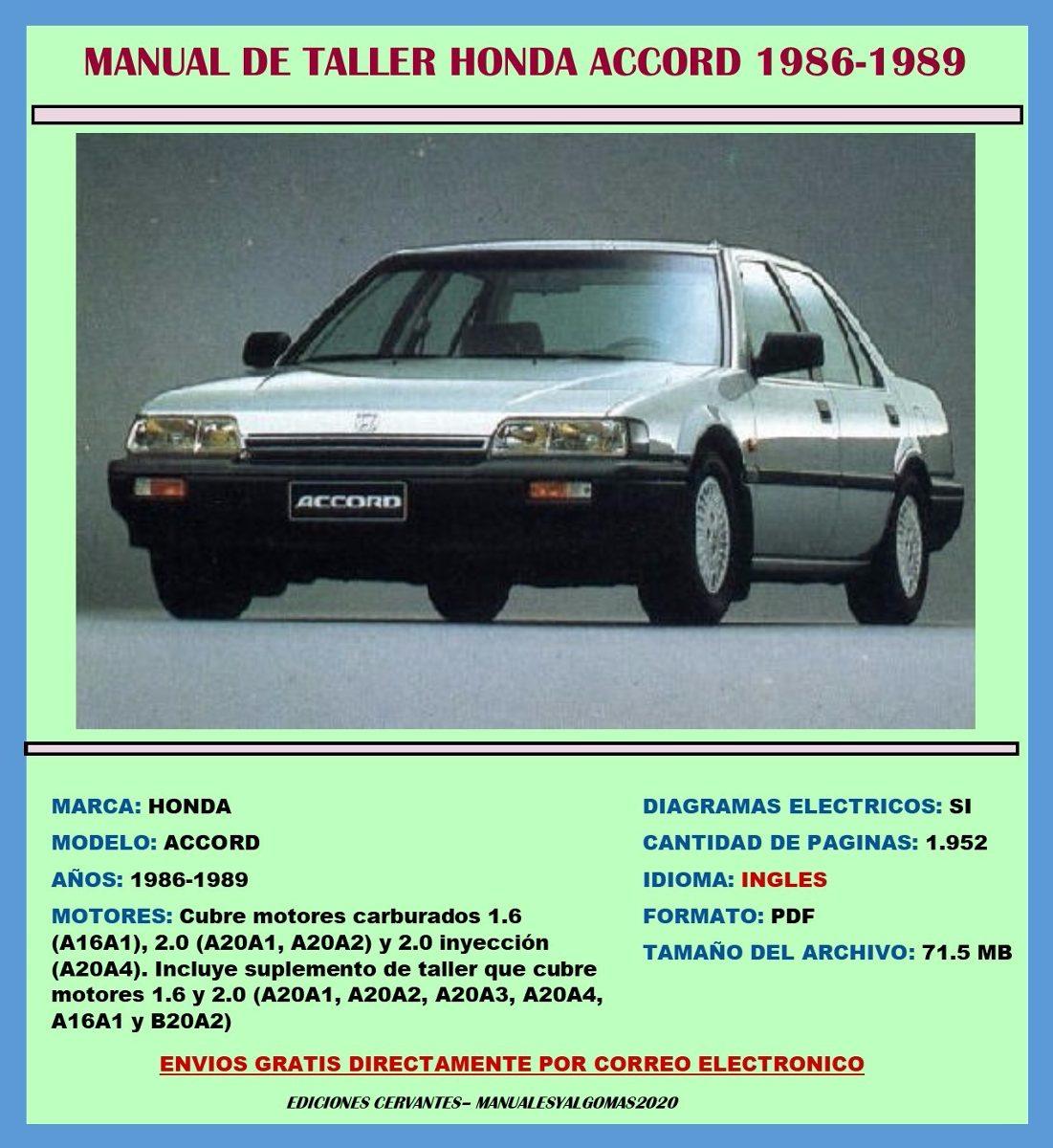 Manual De Taller Reparación Diagramas Honda Accord 1986-1989 - Bs. 8.434,93  en Mercado Libre
