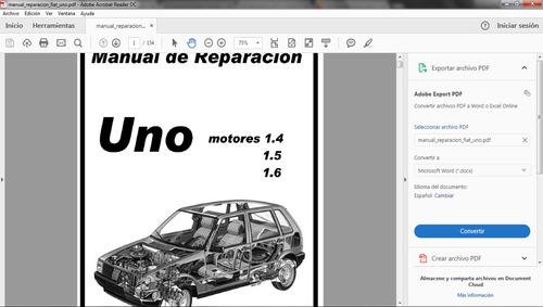 manual de taller reparación fiat uno 1.4, 1.5 y 1.6 pdf espa