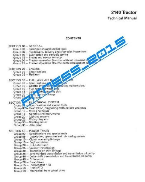 Manual De Taller Tractor John Deere 2140 Maquinaria Agricola on