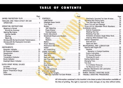 manual de usuario - chevrolet chevy ii 2  nova 1965 *