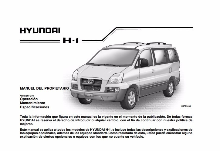 manual de usuario hyundai h1 1997 2007 espa ol 1 890 en rh articulo mercadolibre cl manual hyundai h100 manual de taller hyundai h100 motor 2.5 diesel pdf