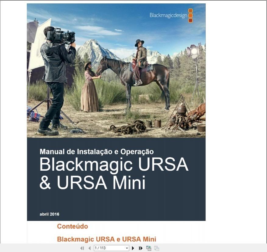 Manual Em Português Blackmagic Ursa E Ursa Mini