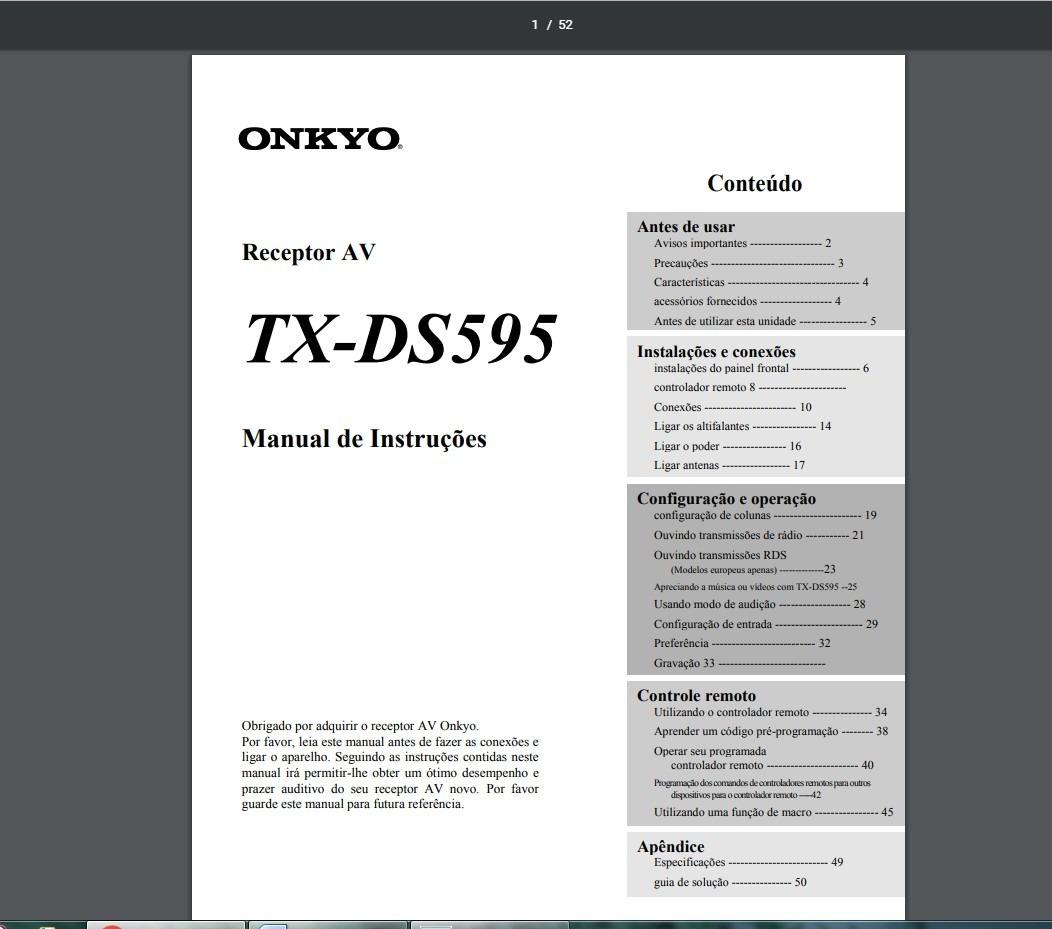 ... Array - manual em portugu s do receiver onkyo tx ds595 r 2999 em rh  produto