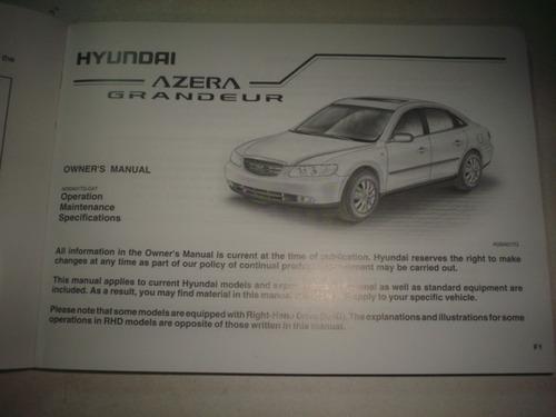 manual hyundai azera 2007 2008 original proprietario sedan