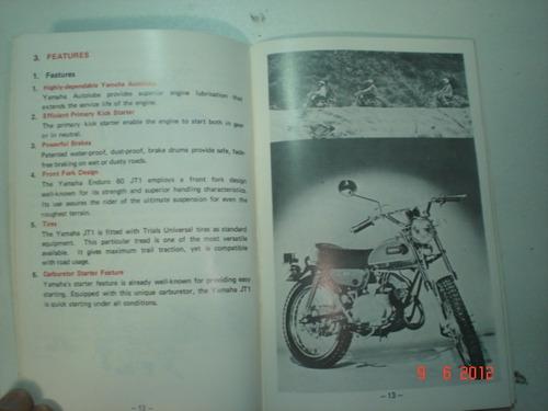 manual moto yamaha mini enduro 60 jt1 original motocicleta