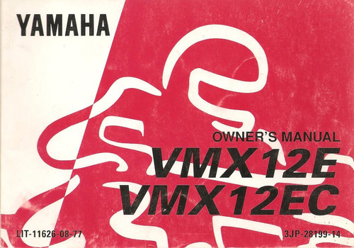 manual moto yamaha vmx 12e / 12ec `1992  -original impecable