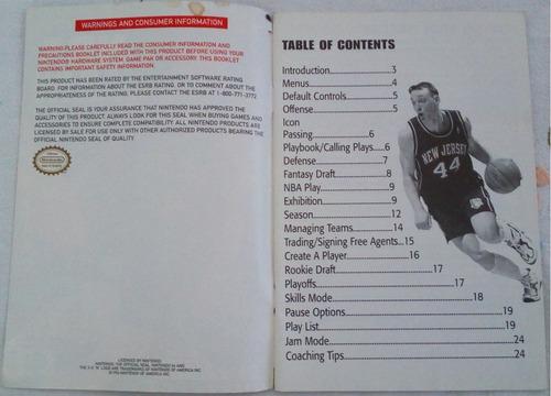 manual original americano - nba jam 99 - nintendo 64 n64
