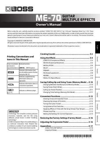 manual proprietário me-70 boss