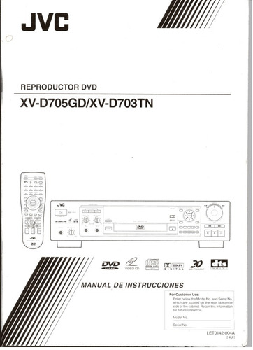 manual reproductor dvd jvc xv-d705gd / xv- d703tn
