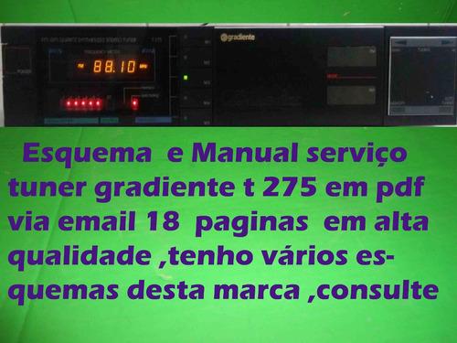 manual serviço tuner gradiente t275 t 275 em pdf  18 paginas