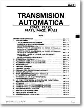 manual taller caja mitsubishi f3a21+f4a21+f4a22 mf mx mz zx