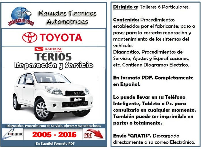 Manual taller terios be go toyota daihatsu 2005 2016 pdf for Manual de acuicultura pdf