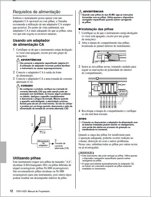 Manual teclado yamaha psr-e433 em português (arquivo pdf) r$ 19.