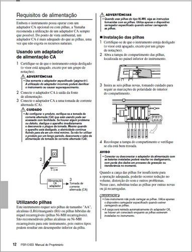 manual teclado yamaha psr-e433 em português (arquivo pdf)